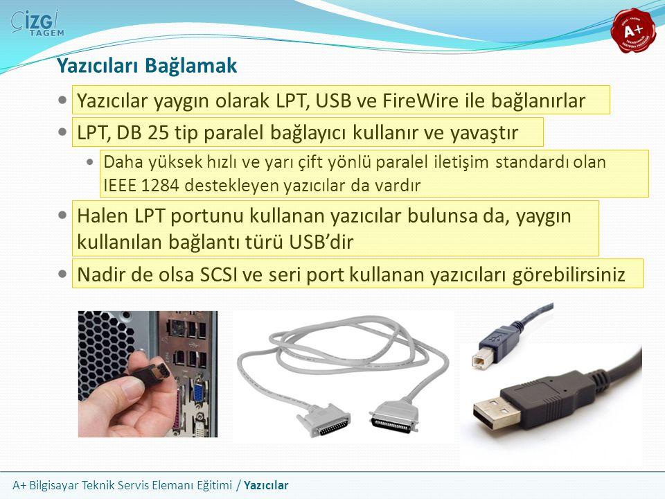 Yazıcıları Bağlamak Yazıcılar yaygın olarak LPT, USB ve FireWire ile bağlanırlar. LPT, DB 25 tip paralel bağlayıcı kullanır ve yavaştır.