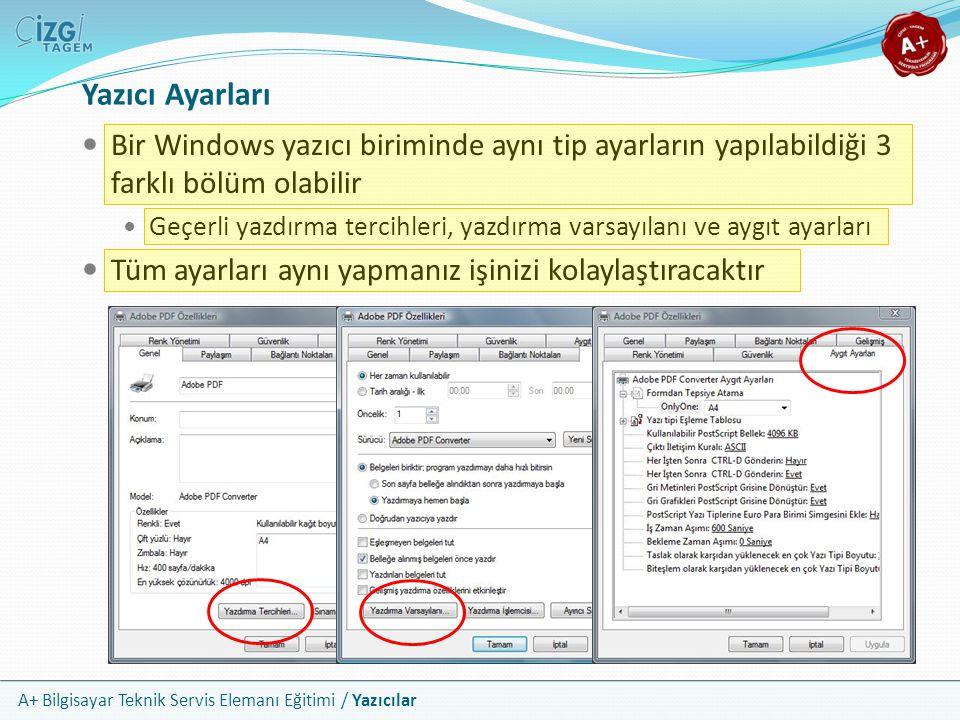Yazıcı Ayarları Bir Windows yazıcı biriminde aynı tip ayarların yapılabildiği 3 farklı bölüm olabilir.