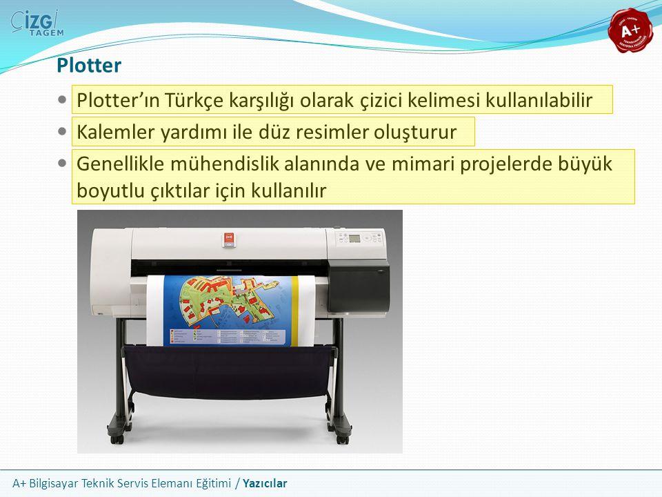 Plotter Plotter'ın Türkçe karşılığı olarak çizici kelimesi kullanılabilir. Kalemler yardımı ile düz resimler oluşturur.