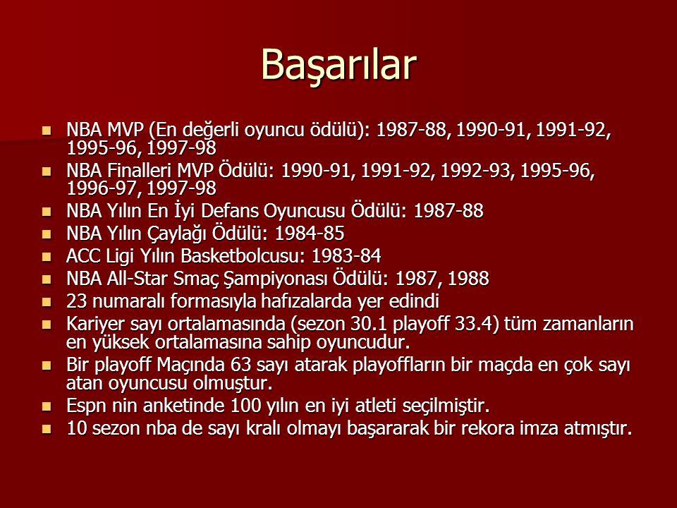Başarılar NBA MVP (En değerli oyuncu ödülü): 1987-88, 1990-91, 1991-92, 1995-96, 1997-98.