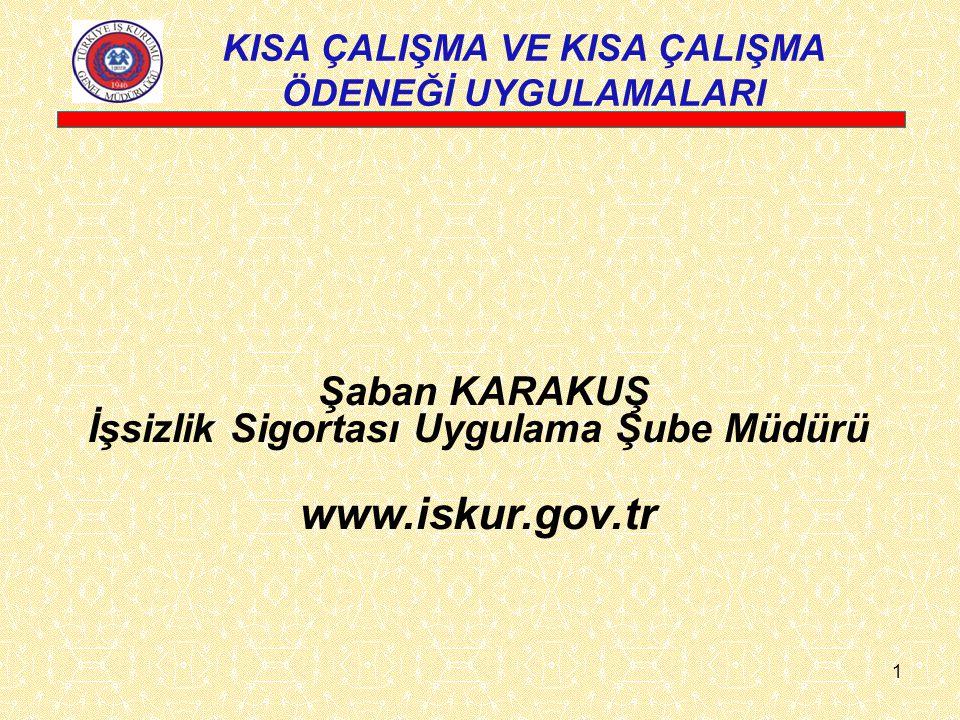 Şaban KARAKUŞ İşsizlik Sigortası Uygulama Şube Müdürü www.iskur.gov.tr