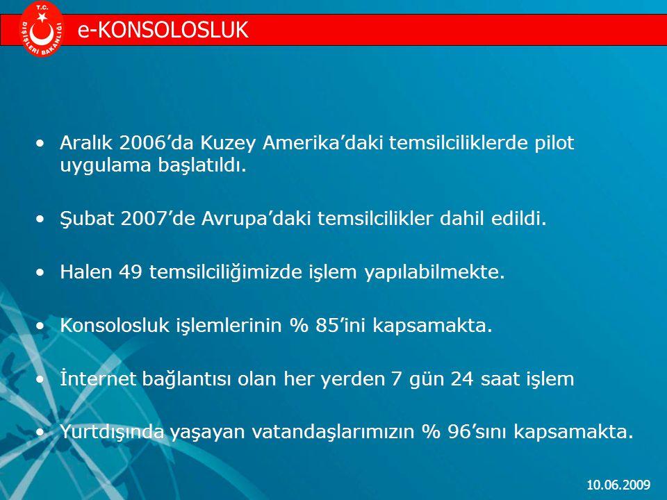 e-KONSOLOSLUK Aralık 2006'da Kuzey Amerika'daki temsilciliklerde pilot uygulama başlatıldı. Şubat 2007'de Avrupa'daki temsilcilikler dahil edildi.