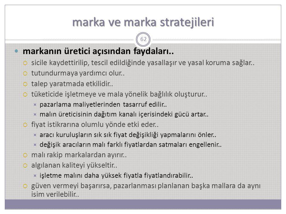 marka ve marka stratejileri