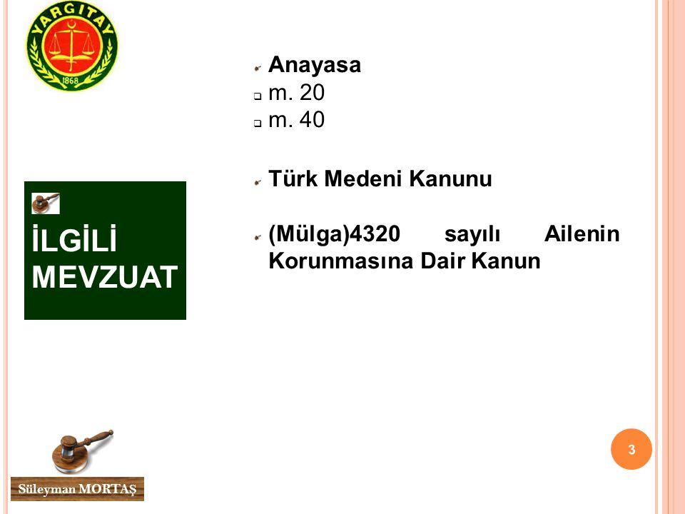 İLGİLİ MEVZUAT Anayasa m. 20 m. 40 Türk Medeni Kanunu