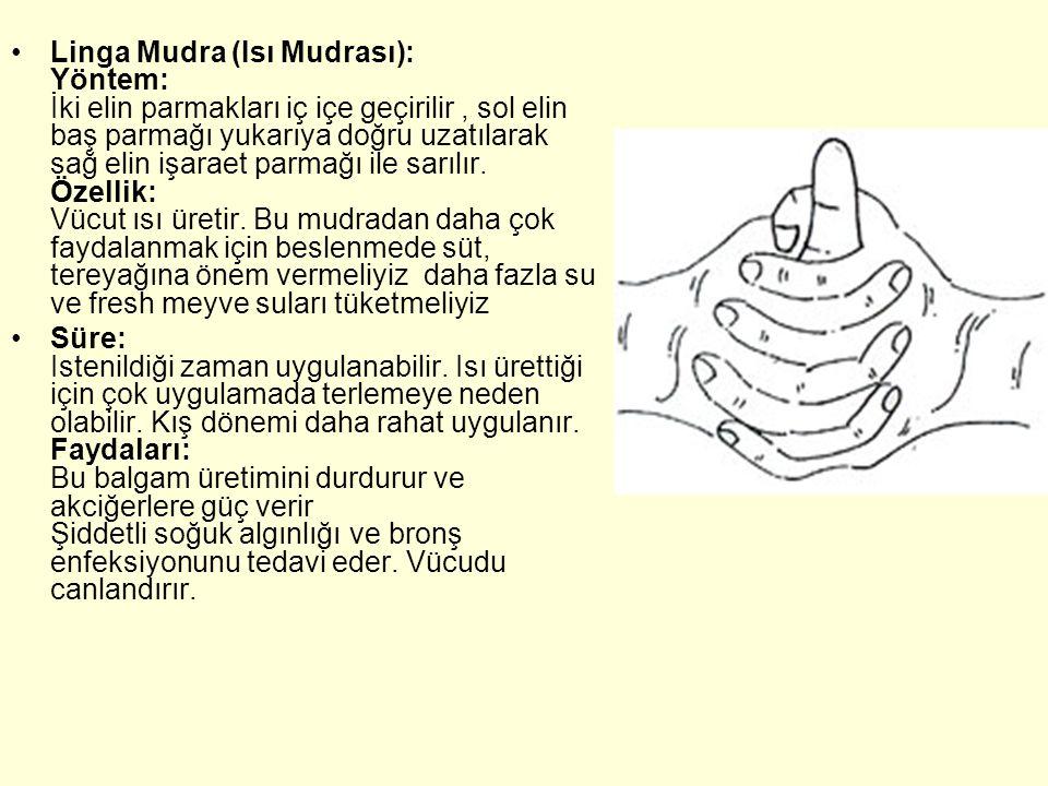 Linga Mudra (Isı Mudrası): Yöntem: İki elin parmakları iç içe geçirilir , sol elin baş parmağı yukarıya doğru uzatılarak sağ elin işaraet parmağı ile sarılır. Özellik: Vücut ısı üretir. Bu mudradan daha çok faydalanmak için beslenmede süt, tereyağına önem vermeliyiz daha fazla su ve fresh meyve suları tüketmeliyiz