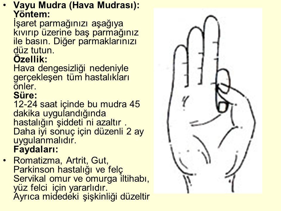 Vayu Mudra (Hava Mudrası): Yöntem: İşaret parmağınızı aşağıya kıvırıp üzerine baş parmağınız ile basın. Diğer parmaklarınızı düz tutun. Özellik: Hava dengesizliği nedeniyle gerçekleşen tüm hastalıkları önler. Süre: 12-24 saat içinde bu mudra 45 dakika uygulandığında hastalığın şiddeti ni azaltır . Daha iyi sonuç için düzenli 2 ay uygulanmalıdır. Faydaları: