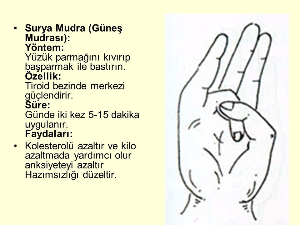 Surya Mudra (Güneş Mudrası): Yöntem: Yüzük parmağını kıvırıp başparmak ile bastırın. Özellik: Tiroid bezinde merkezi güçlendirir. Süre: Günde iki kez 5-15 dakika uygulanır. Faydaları: