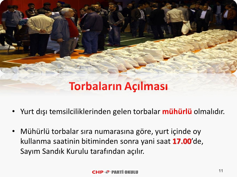 Torbaların Açılması Yurt dışı temsilciliklerinden gelen torbalar mühürlü olmalıdır.