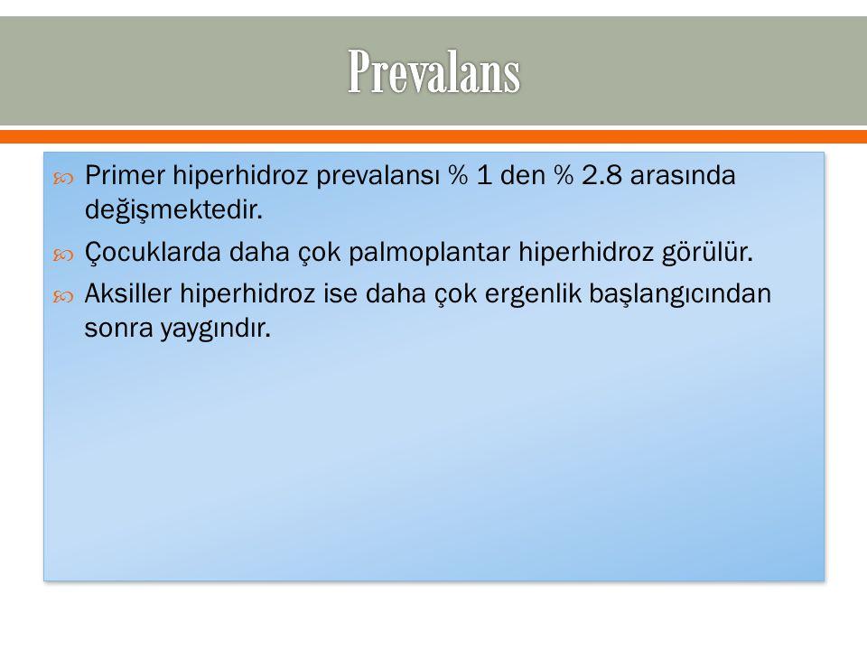 Prevalans Primer hiperhidroz prevalansı % 1 den % 2.8 arasında değişmektedir. Çocuklarda daha çok palmoplantar hiperhidroz görülür.