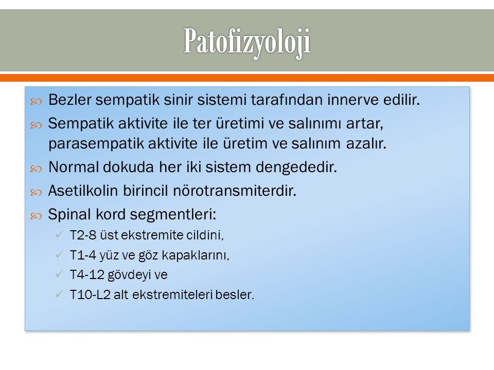 Patofizyoloji Bezler sempatik sinir sistemi tarafından innerve edilir.