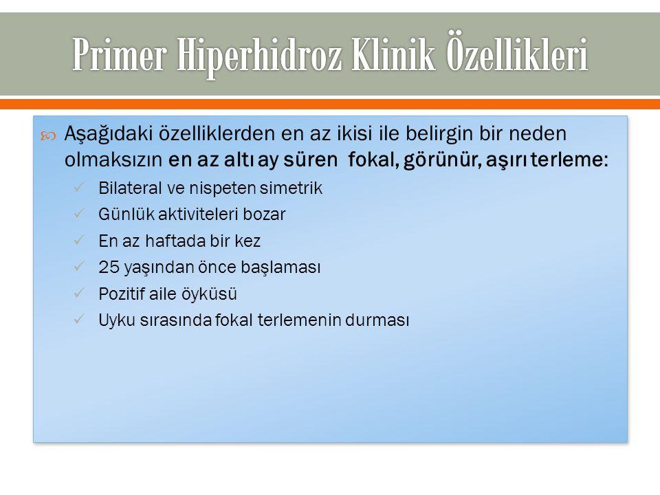 Primer Hiperhidroz Klinik Özellikleri