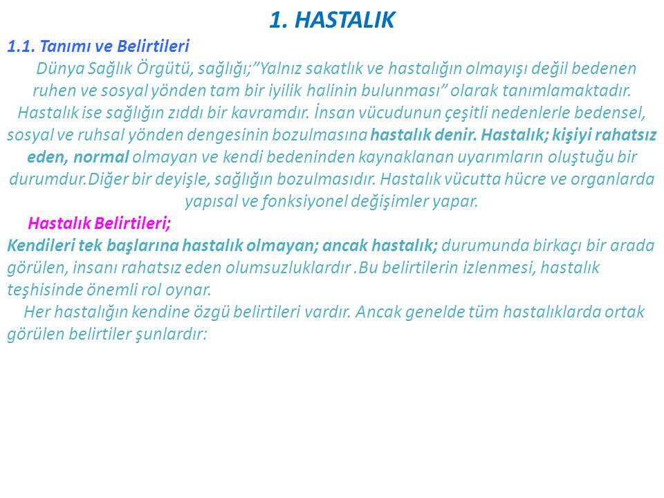 1. HASTALIK 1.1. Tanımı ve Belirtileri