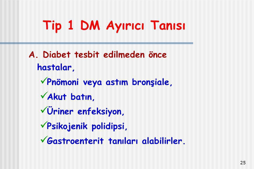 Tip 1 DM Ayırıcı Tanısı A. Diabet tesbit edilmeden önce hastalar,