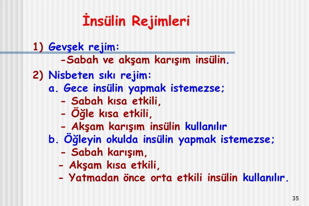 İnsülin Rejimleri Gevşek rejim: -Sabah ve akşam karışım insülin.