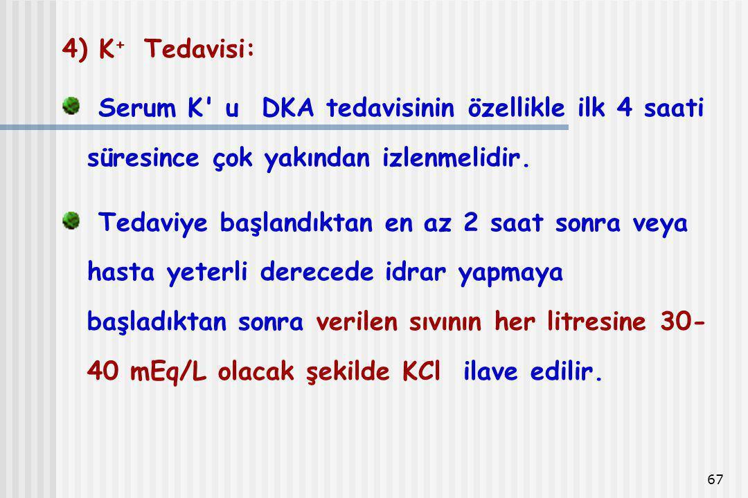 4) K+ Tedavisi: Serum K u DKA tedavisinin özellikle ilk 4 saati süresince çok yakından izlenmelidir.