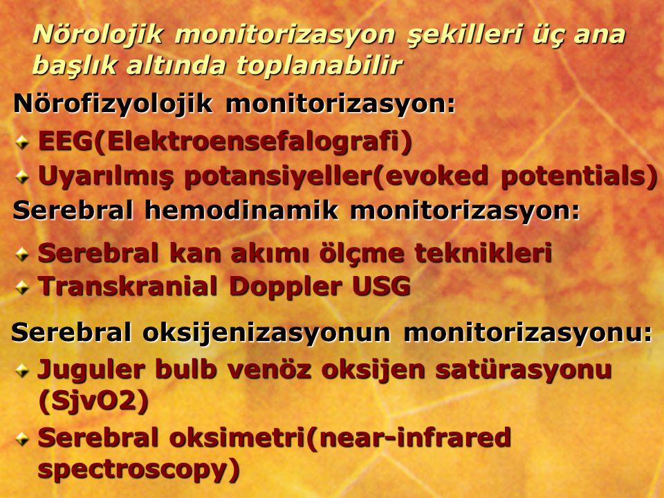 Nörolojik monitorizasyon şekilleri üç ana başlık altında toplanabilir
