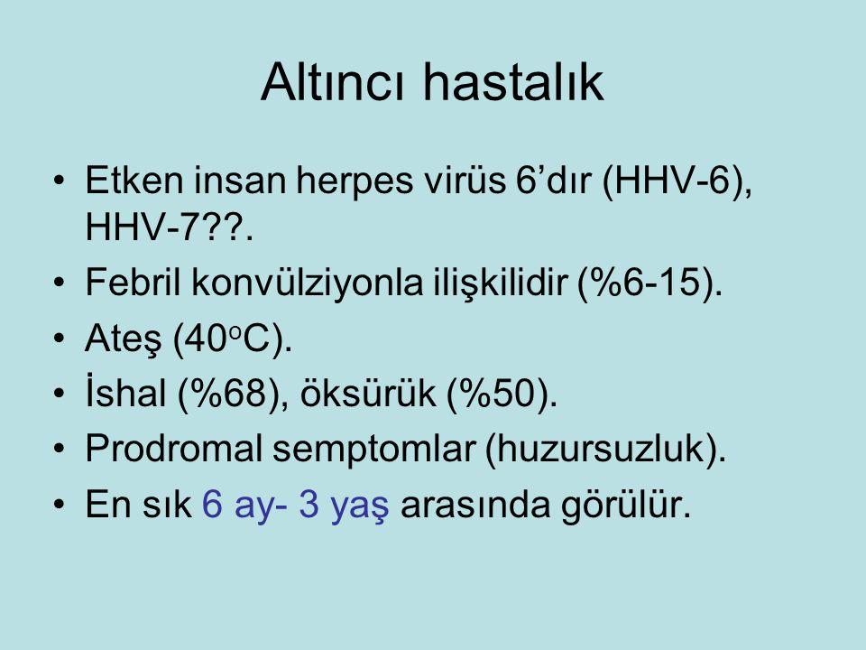 Altıncı hastalık Etken insan herpes virüs 6'dır (HHV-6), HHV-7 .