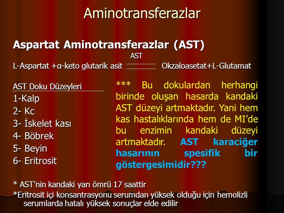 Aminotransferazlar Aspartat Aminotransferazlar (AST) 1-Kalp 2- Kc