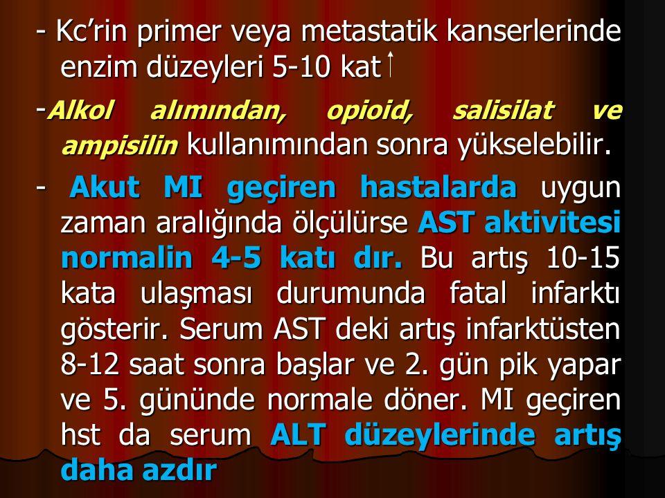 - Kc'rin primer veya metastatik kanserlerinde enzim düzeyleri 5-10 kat