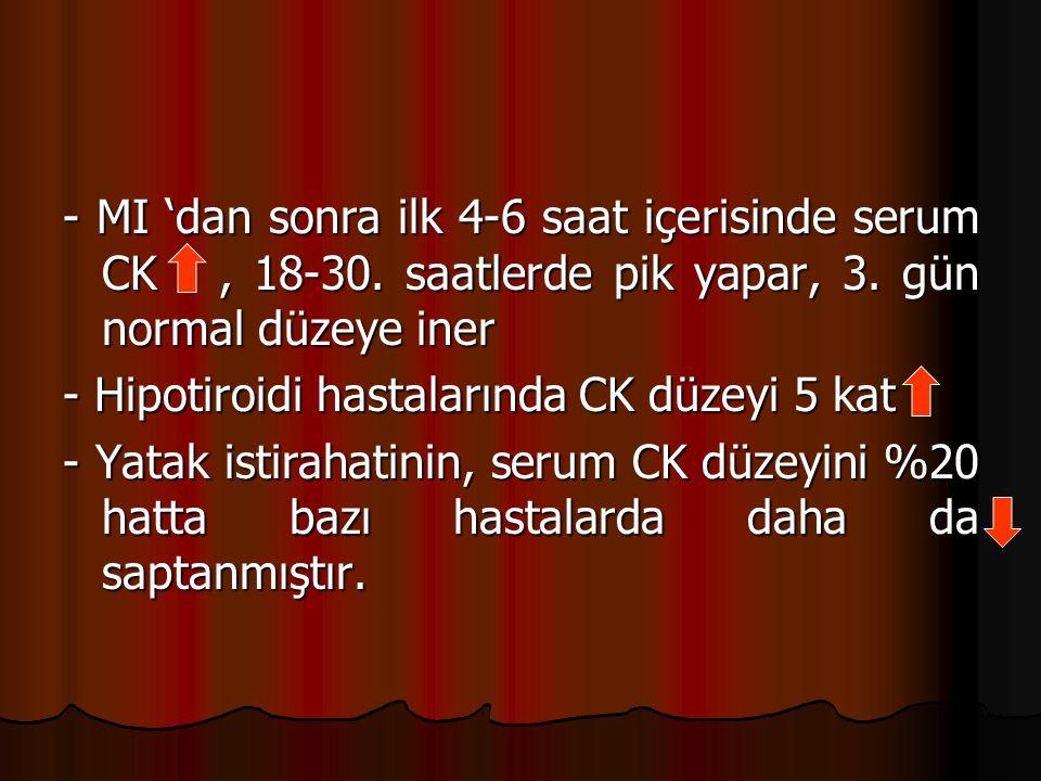 - MI 'dan sonra ilk 4-6 saat içerisinde serum CK , 18-30