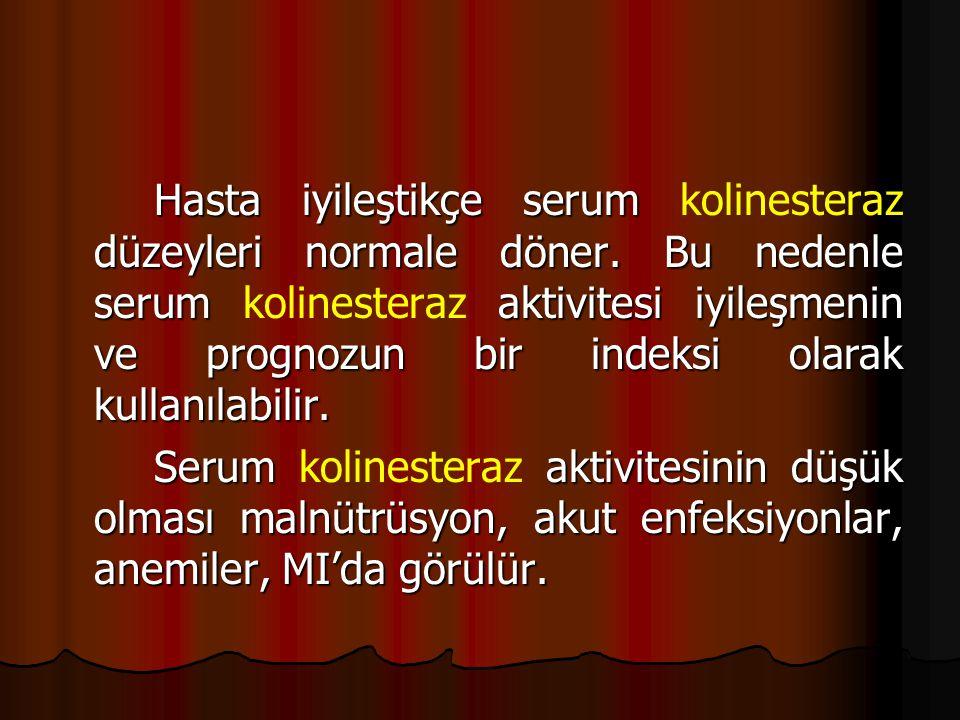 Hasta iyileştikçe serum kolinesteraz düzeyleri normale döner