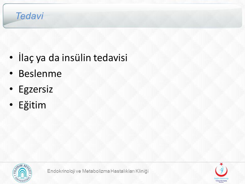 İlaç ya da insülin tedavisi Beslenme Egzersiz Eğitim
