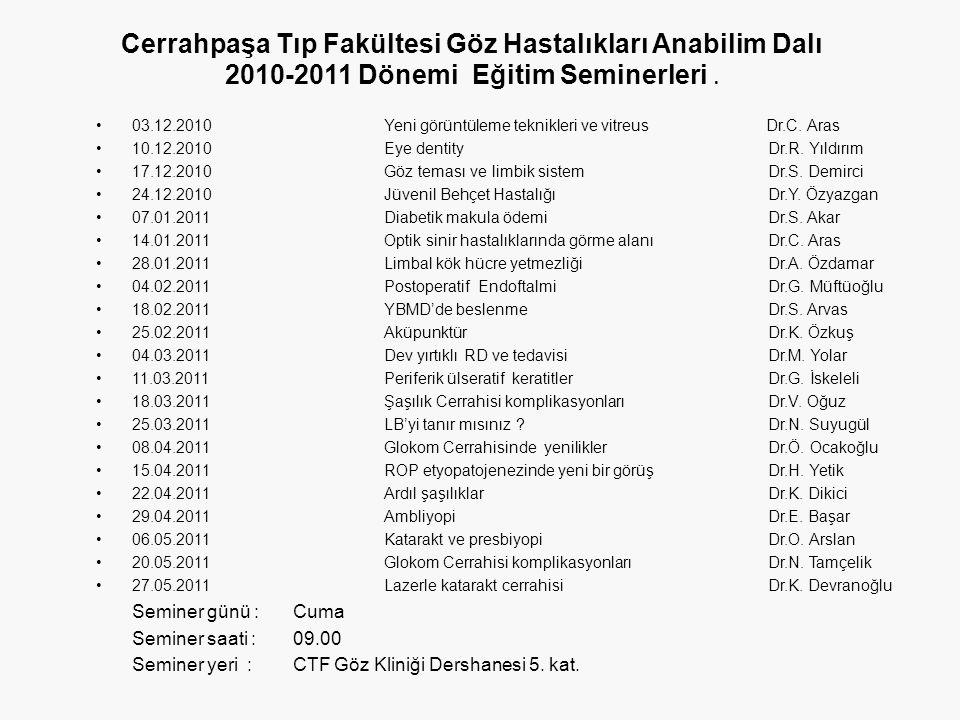Cerrahpaşa Tıp Fakültesi Göz Hastalıkları Anabilim Dalı 2010-2011 Dönemi Eğitim Seminerleri .