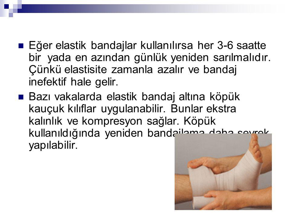 Eğer elastik bandajlar kullanılırsa her 3-6 saatte bir yada en azından günlük yeniden sarılmalıdır. Çünkü elastisite zamanla azalır ve bandaj inefektif hale gelir.