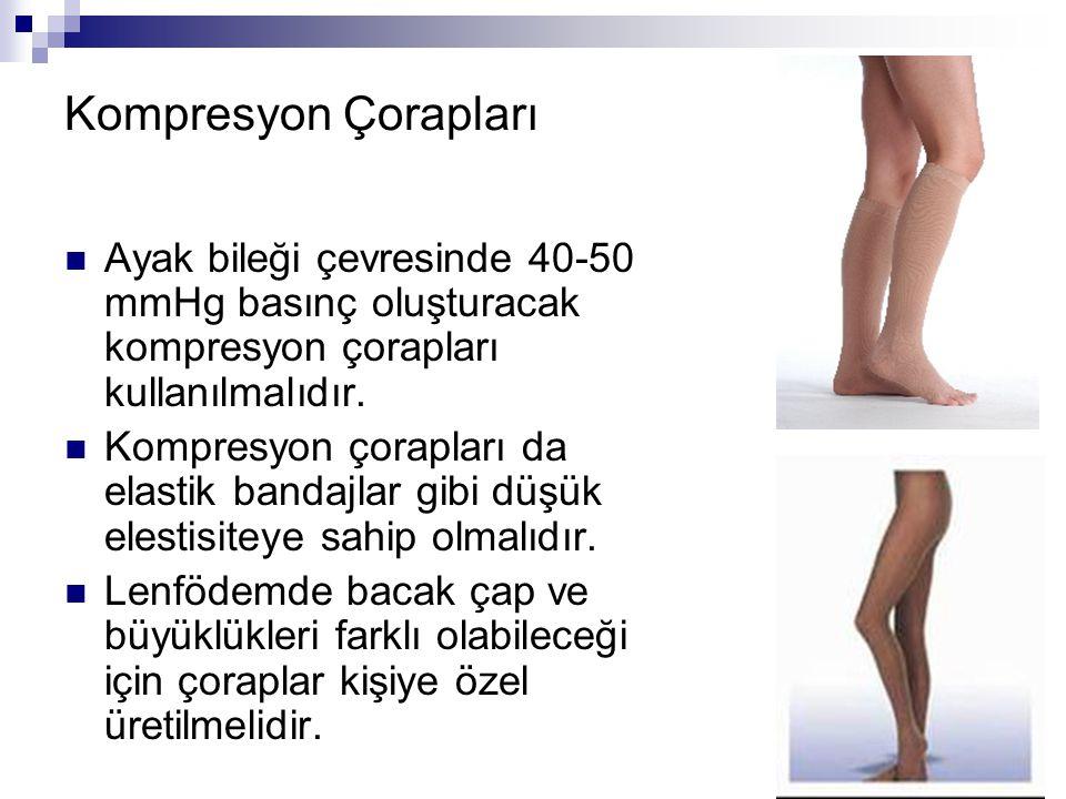 Kompresyon Çorapları Ayak bileği çevresinde 40-50 mmHg basınç oluşturacak kompresyon çorapları kullanılmalıdır.