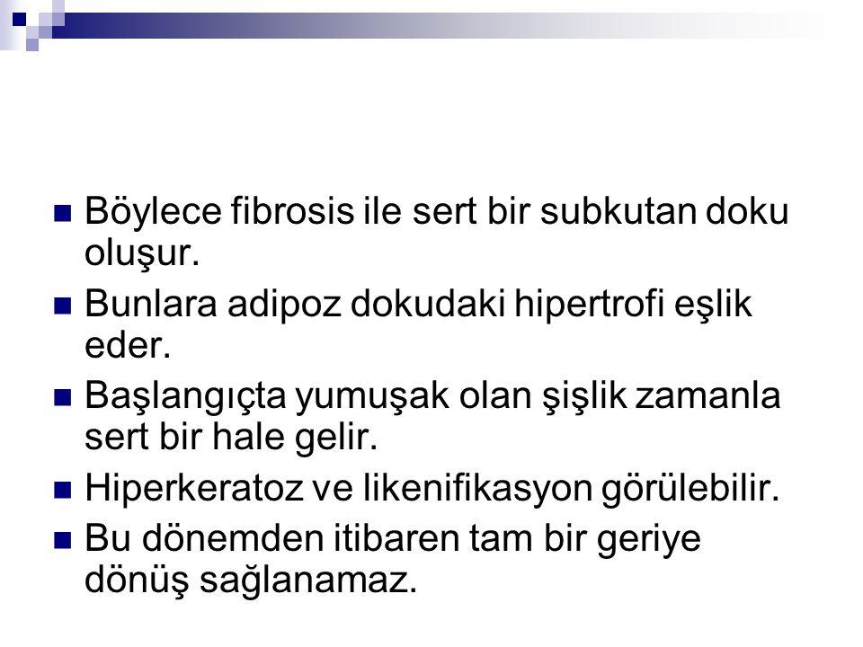 Böylece fibrosis ile sert bir subkutan doku oluşur.