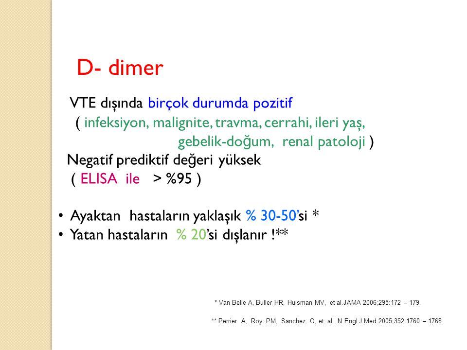D- dimer VTE dışında birçok durumda pozitif