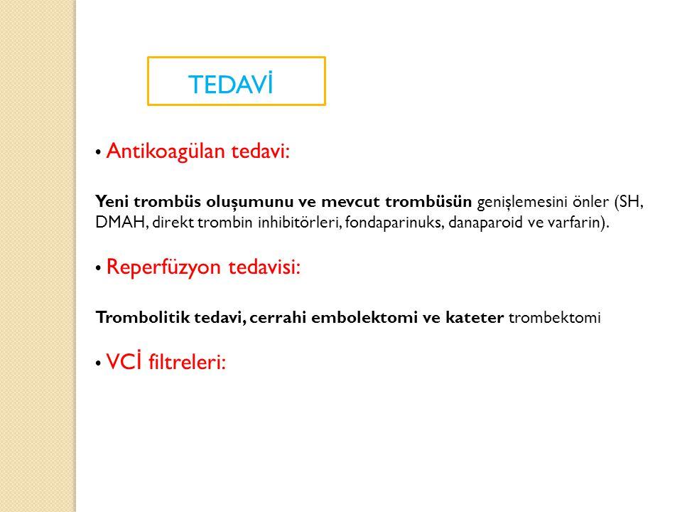 TEDAVİ • Antikoagülan tedavi: