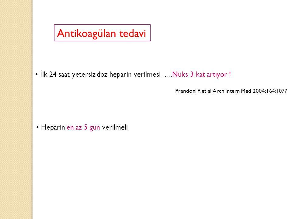 Antikoagülan tedavi İlk 24 saat yetersiz doz heparin verilmesi …..Nüks 3 kat artıyor ! Prandoni P, et al.Arch Intern Med 2004;164:1077.