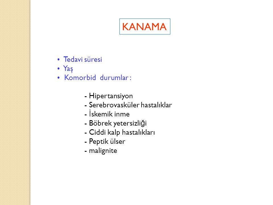 KANAMA Tedavi süresi Yaş Komorbid durumlar : - Hipertansiyon