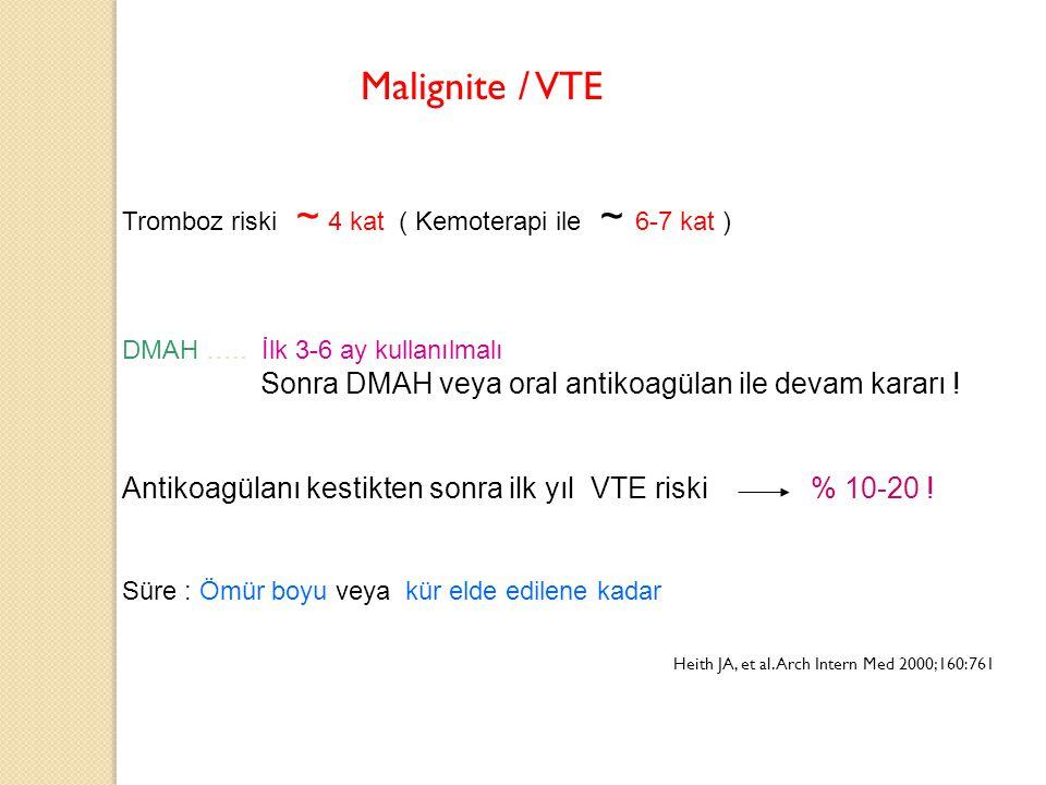 Malignite / VTE Tromboz riski ~ 4 kat ( Kemoterapi ile ~ 6-7 kat ) DMAH ….. İlk 3-6 ay kullanılmalı.