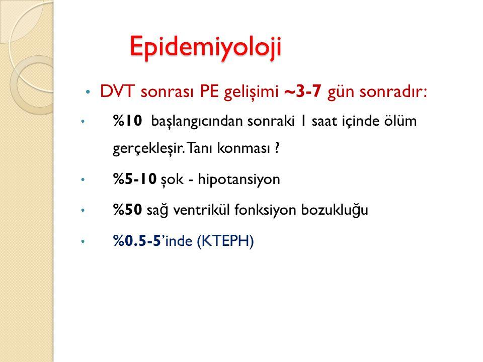 Epidemiyoloji DVT sonrası PE gelişimi ~3-7 gün sonradır: