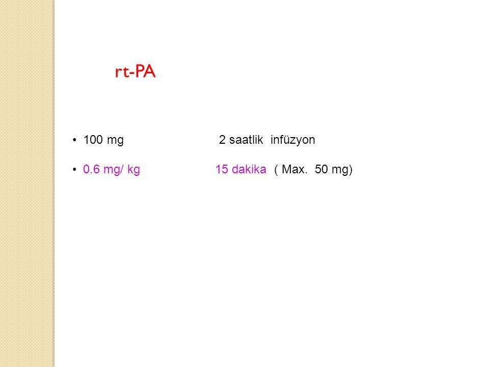 rt-PA 100 mg 2 saatlik infüzyon 0.6 mg/ kg 15 dakika ( Max. 50 mg) 47