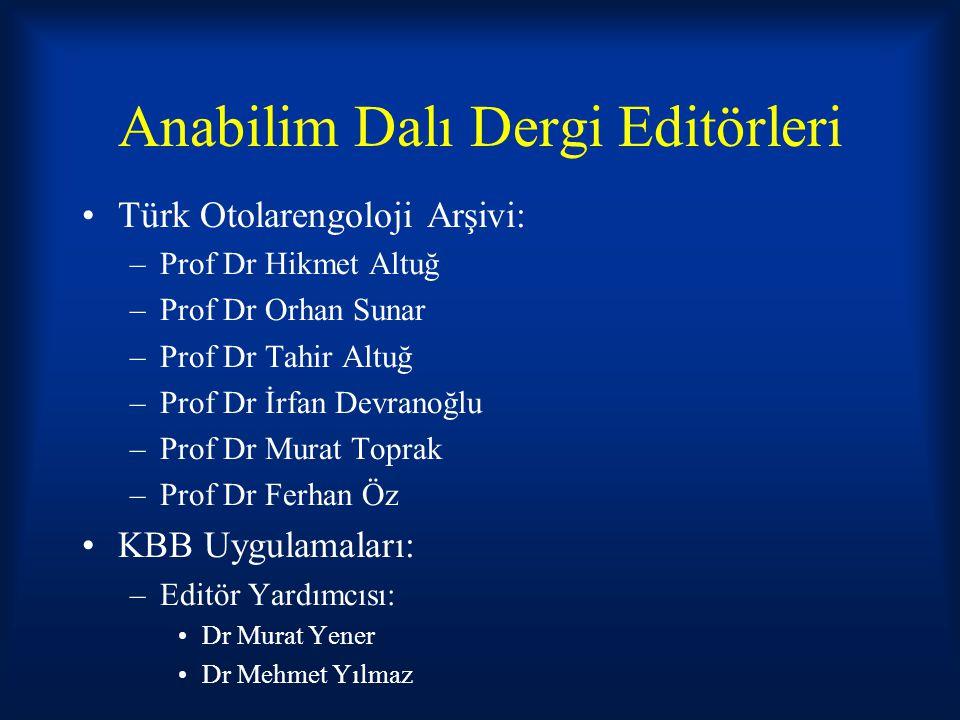 Anabilim Dalı Dergi Editörleri