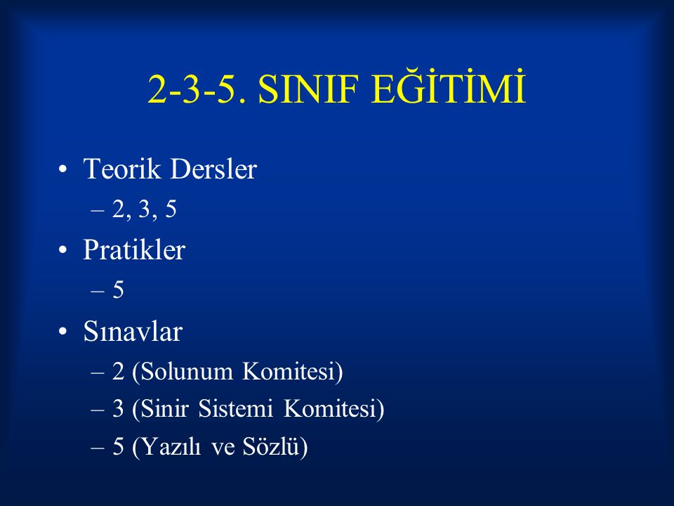 2-3-5. SINIF EĞİTİMİ Teorik Dersler Pratikler Sınavlar 2, 3, 5 5
