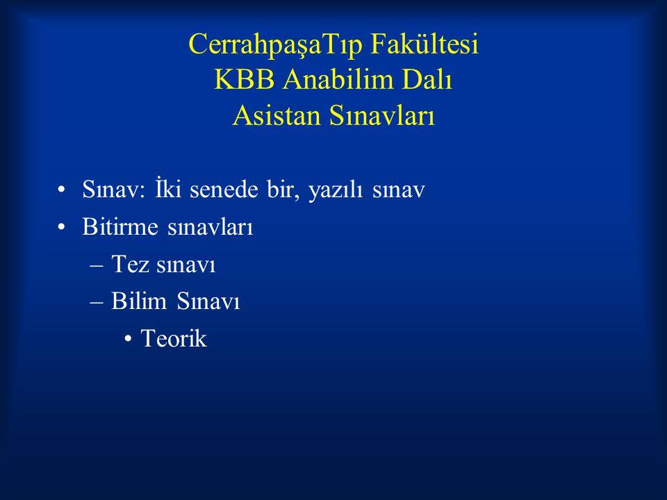 CerrahpaşaTıp Fakültesi KBB Anabilim Dalı Asistan Sınavları