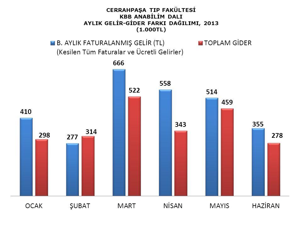 CERRAHPAŞA TIP FAKÜLTESİ KBB ANABİLİM DALI AYLIK GELİR-GİDER FARKI DAĞILIMI, 2013 (1.000TL)