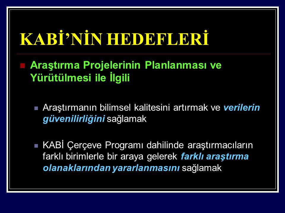 KABİ'NİN HEDEFLERİ Araştırma Projelerinin Planlanması ve Yürütülmesi ile İlgili.
