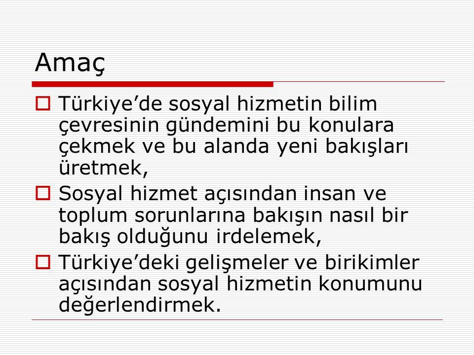 Amaç Türkiye'de sosyal hizmetin bilim çevresinin gündemini bu konulara çekmek ve bu alanda yeni bakışları üretmek,