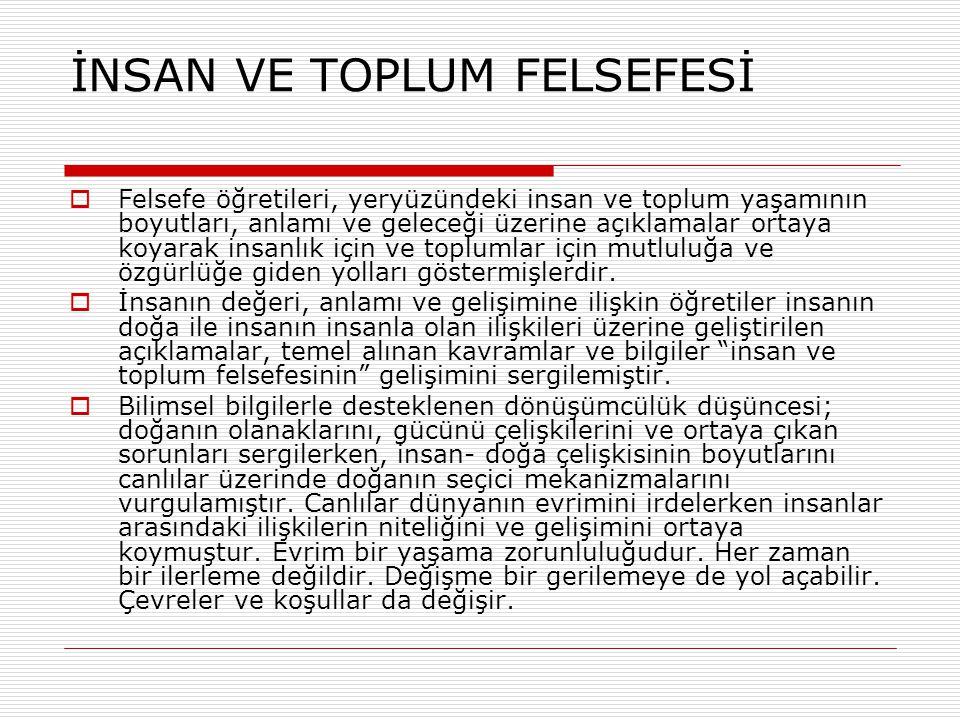 İNSAN VE TOPLUM FELSEFESİ