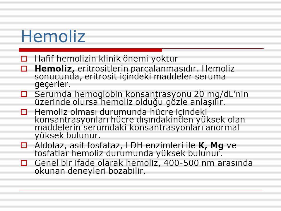 Hemoliz Hafif hemolizin klinik önemi yoktur