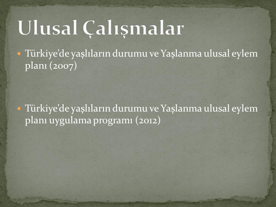 Ulusal Çalışmalar Türkiye'de yaşlıların durumu ve Yaşlanma ulusal eylem planı (2007)