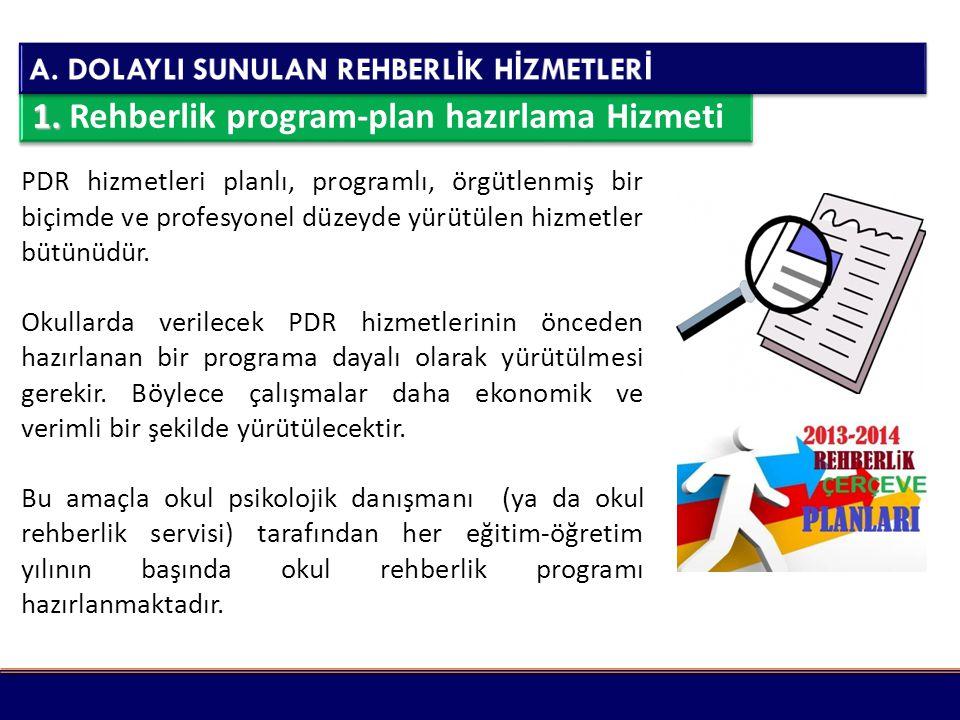 1. Rehberlik program-plan hazırlama Hizmeti