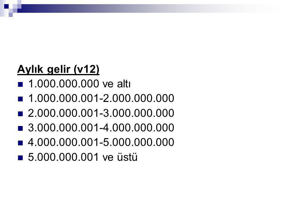 Aylık gelir (v12) 1.000.000.000 ve altı. 1.000.000.001-2.000.000.000. 2.000.000.001-3.000.000.000.