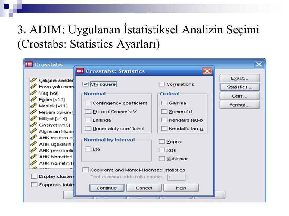 3. ADIM: Uygulanan İstatistiksel Analizin Seçimi (Crostabs: Statistics Ayarları)
