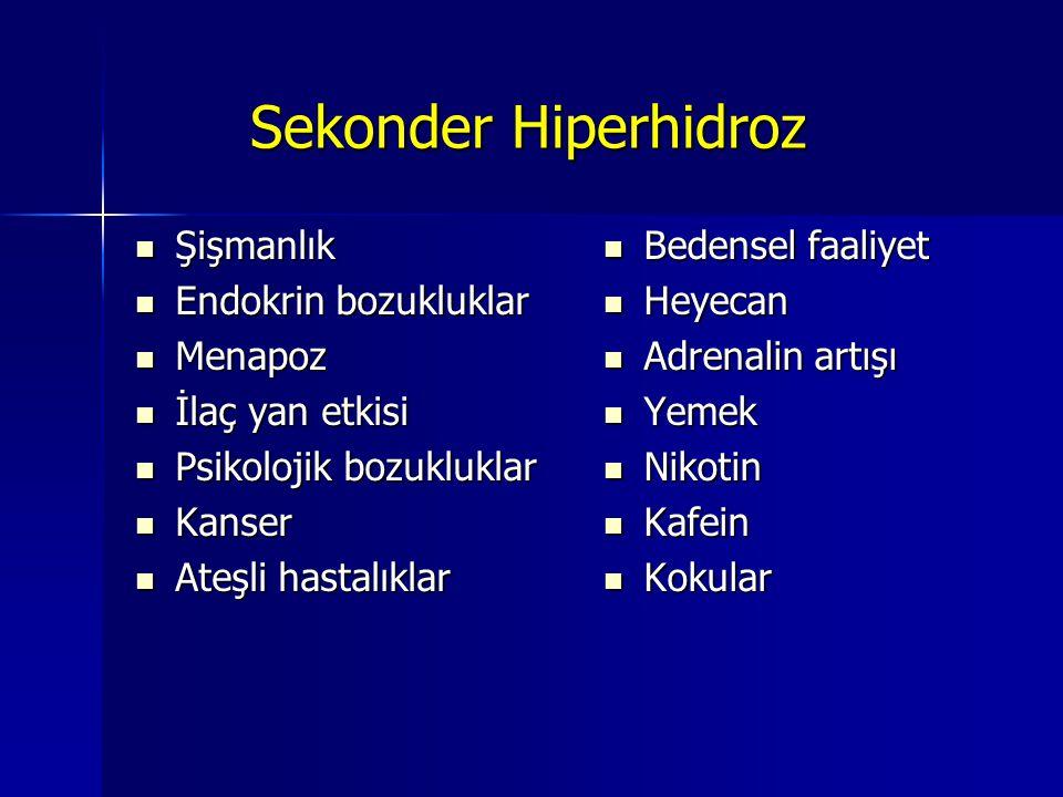 Sekonder Hiperhidroz Şişmanlık Endokrin bozukluklar Menapoz